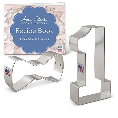 Ann Clark Cookie Cutters 2-Piece Boy's 1st Birthday Cookie Cutter Set with Recipe Booklet, Bow Tie