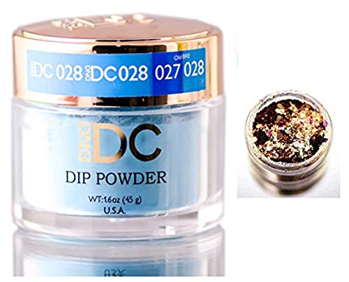 DND DC Blues & Greens DIP POWDER for Nails 1.6oz, 45g, Daisy Dipping (with bonus side Glitter) Made in USA (Copen Blue (028))