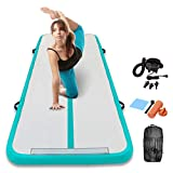 Track Air Mats Gymnastics Inflatable Air Tumbling Mat 10Ft 13Ft 16Ft 20Ft With Electric Air Pump For Water Yoga,Beach,Training (Mint Green+White, 9.84 FT)