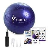 Bobelle Pelota de Ejercicio,Gym Ball Bola para Pilates,Anti-Burst para Yoga,Equilibrio,Fitness,Entrenamiento,Incluidos Bomba,65cm 75cm (Morado, 65cm)