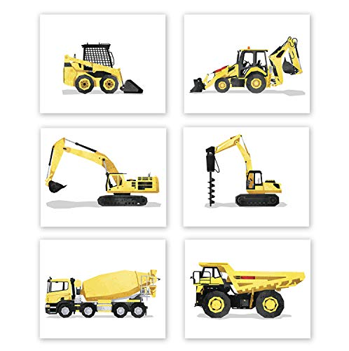 AtoZStudio Boy Bedroom Decor - Set of 6 Prints // Truck Nursery Posters // Toddler Room Wall Art // Dump Drill Cement Truck Excavator Digger // Party Decoration (8x10, Set 6)