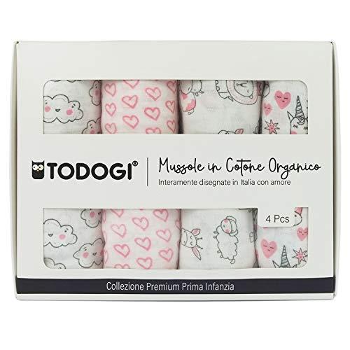 TODOGI Mussole Neonato 100% Cotone Biologico Certificato GOTS Set 4 Disegn 120 x 120...