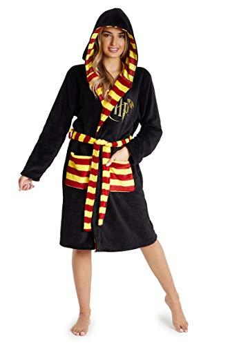 Harry Potter Bademantel Damen mit Kapuze, Kuschelig Morgenmantel Unisex, Hogwarts Geschenke für Herren, Damen und Jugendliche, Nachtwäsche aus Weichem Fleece (Schwarz, XL)