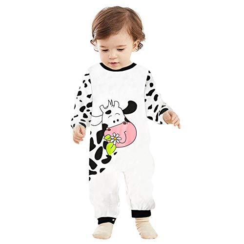 Ghemdilmn Pijama para bebé unisex de manga larga con dibujos animados de vacas estampados, mono de algodón puro blanco 9-12 Meses