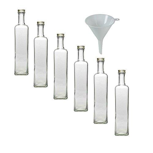 6 Glasflaschen mit Schraubverschluss 500 ml zum Selbstbefüllen, inkl. einem Einfülltrichter 9,5 cm
