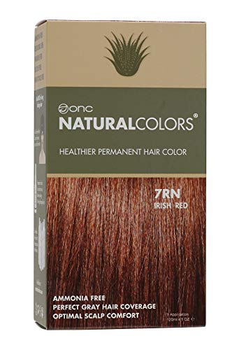 ONC NATURALCOLORS (7RN Irish Red) 4 fl. oz. (120 mL) Healthier Permanent Hair Dye with Certified Organic Ingredients, Ammonia Free, Vegan Friendly, 100% Gray Coverage