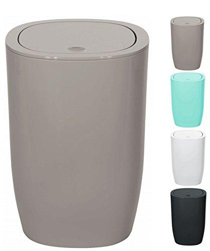 Spirella Design Kosmetikeimer Pure Treteimer Schwingdeckeleimer Abfallbehälter mit Schwingdeckel 5 Liter (ØxH): 17 x 25 cm Taupe