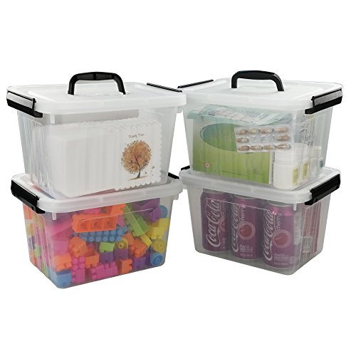 Kekow 6 L Clear Storage Latch Box, 4-Pack