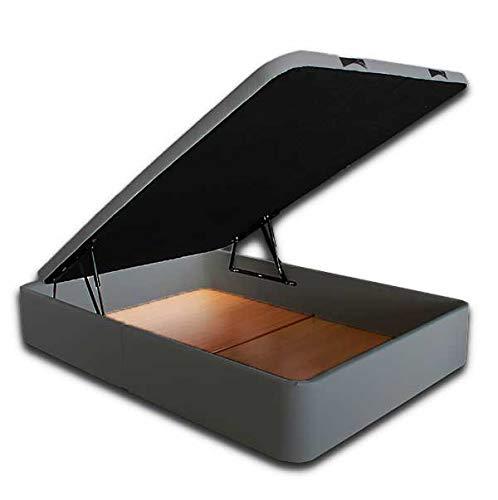 Ventadecolchones - Canapé Abatible Serena Gran Capacidad Tapizado en Polipiel Gris Medidas 150 x 190 cm en Tejido 3D