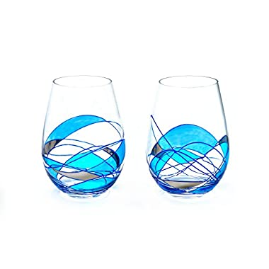 ANTONI BARCELONA Stemless Wine Glass Luxury Blue Line - SET 2 - Unique Hand Painted Gifts for Women, Men, Wedding, Anniversary, Couples, Hand Painted With Silver Metal and Blue Paint