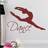 ASFGA Alternative Jump Dance Wall Decal Vinyl Sticker Ballet Dance Actress Acrobatic Gymnastics Decoración del hogar Love Dancer Studio Kid Bedroom 61x42cm