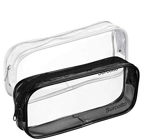 2 STKS Clear Potlood Bag, Surcotto Clear Toiletartikelen Bag Clear Exam Pen Potlood Case Pouch Bag Case Clear PVC Rits…