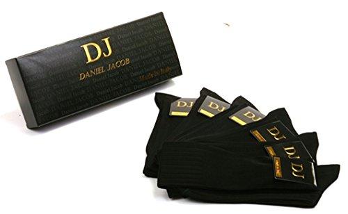ダニエルジェイコブ(Daniel Jacob) 上質 紳士用 ビジネスソックス ブラック6足セット 膝丈 イタリア製 エジプト綿100%    ギフトボックス入り
