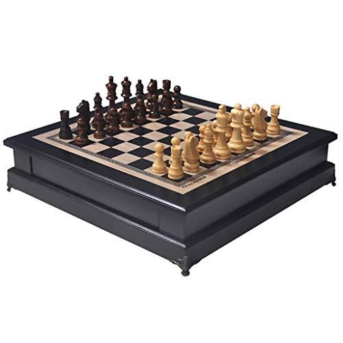 Juego de ajedrez único con cajón Piezas de ajedrez talladas a Mano Damas Juego de ajedrez de Escritorio de Madera Ajedrez de competición Profesional Rectángulo Che (Ejercicio de Pensamiento intelectu