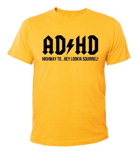Mister Merchandise Cooles Herren T-Shirt ADHD ADHS ACDC, Größe: XXL, Farbe: Gelb