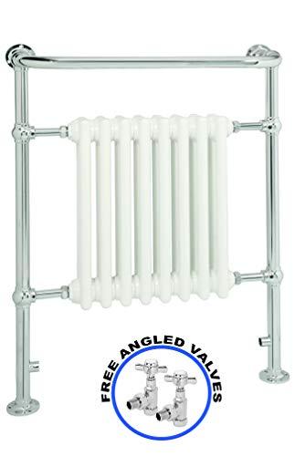 Global - Toallero térmico de estilo victoriano tradicional para baño con radiador de columna para calefacción central, toallero montado en el suelo, color blanco y acabado cromado, acero, 952 x 686
