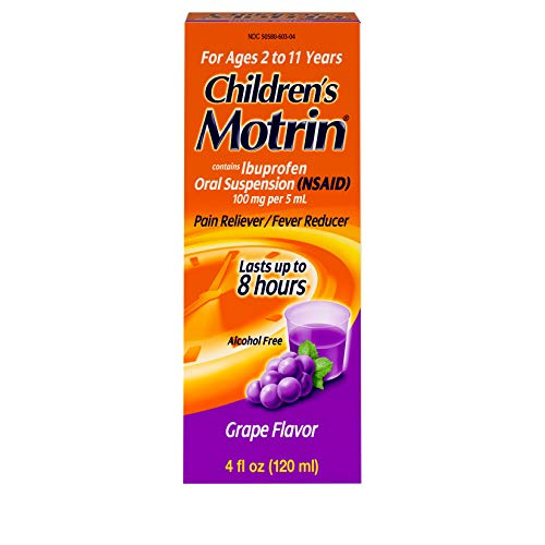 Children's Motrin Oral Suspension, Pain Relief, Ibuprofen, Grape Flavored, 4 Oz