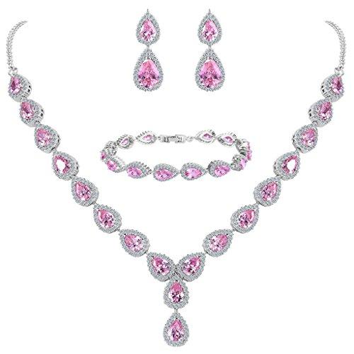 Clearine Damen Hochzeit Braut Tropfen CZ Unendlichekeit Figur 8 Y-Halskette Tennis Armband Dangle Ohrringe Set Pink Turmalin Farbe...