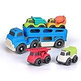 BeebeeRun Camion de Juguete para niños,Transportador de Coches con 4 vehículos de construcción de Juguetes,Educativos Juguetes Regalo 2 3 4 Años Niño Niña