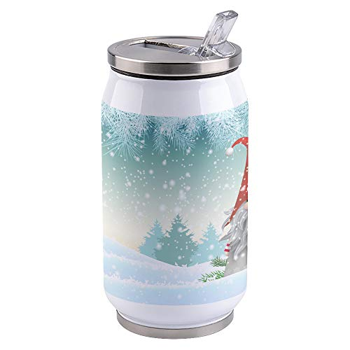 13.5oz Stainless Steel Liner Vacuum Tumbler Christmas Cute Gnome Snow Thermal Insulation Vacuum Cup with Straw & Slider Lid White Portable Cola Can for Travel, Sports, Camping