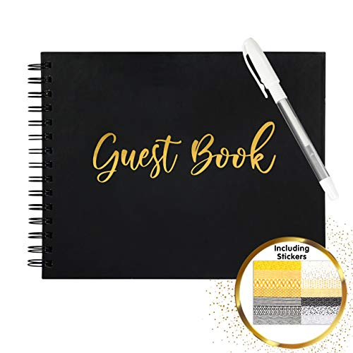 Wedding Guest Book for Polaroid Pictures 80 Black Blank Pages (40 Sheets) Photo Guestbook 8x10 inch Spiral Hardcover Book –Sign in Album Bridal Shower Baby Shower Funeral Christmas Airbnb