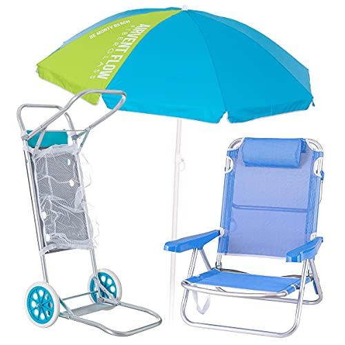 Pack de Silla Playa con cojín de Aluminio y textileno Azul,