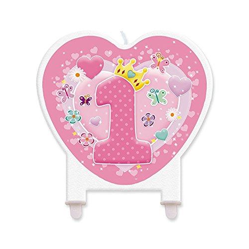 Big Party- Candela a Forma di Cuore Rosa 1° Compleanno, Colore, 73133_FB