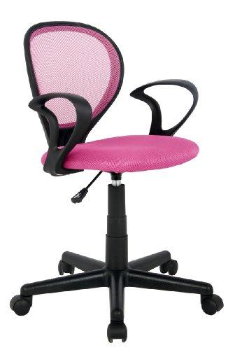 SixBros. Bürostuhl,Schreibtischstuhl, Drehstuhl für's Büro oder Kinderzimmer, stufenlos höhenverstellbar, Schreibtischstuhl für Kinder aus Stoff, Pink H-2408F/1406