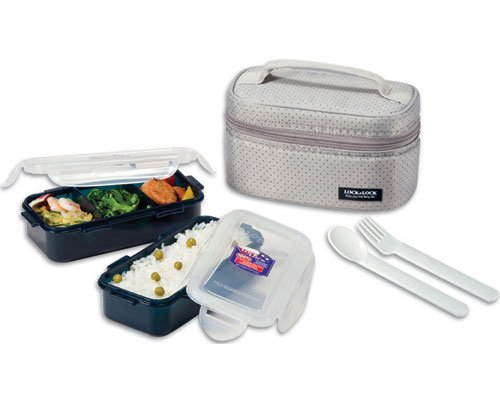 Lock & Lock Rectangular Gray Lunch Box Set w/ Leak Proof Food Containers & Locking Lids - 1.4 Cup