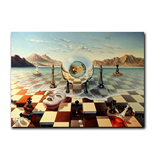 Salvador Dali Surrealism Chess Mask On Sea Canvas Prints Painting On Wall Art Abstract Weird Picture Decor -24x36 inch No Frame