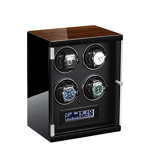 ZCXBHD Caja de Relojes Automaticos Panel Táctil Iluminación LED con Mando A Distancia Silenciosa Caja de Almacenamiento Caja de Reloj de Cuero de Relojes Hombre Mujer Negro (Size : 4 epitope)