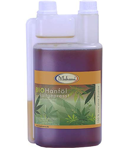 Makana BIO Hanföl für Tiere, kaltgepresst, 100% rein, 1000 ml Dosierflasche (1 x 1 l)