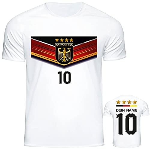 DE FANSHOP Deutschland Trikot mit GRATIS Wunschname Nummer #D7 2021 2022 EM/WM weiß - Geschenk für Kinder Jungen Baby Fußball T-Shirt personalisiert