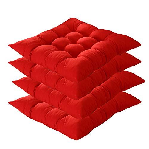 4er Set Sitzkissen,AGDLLYD sitzkissen 40x40 cm,Gartenstuhlkissen Garten Balkon Terrasse (Mehrere Farben zur Auswahl) (Rot)