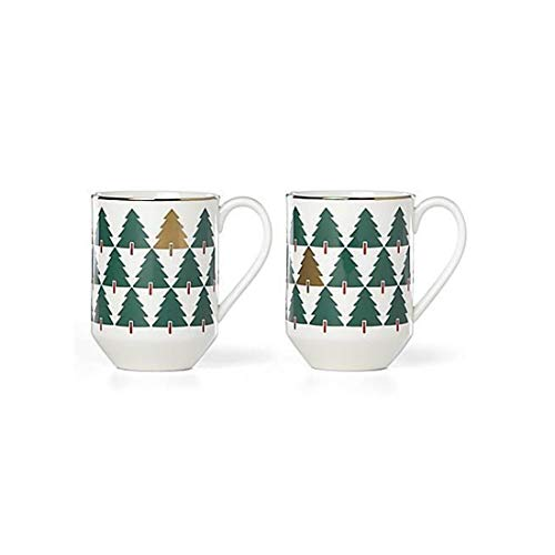 Kate Spade New York Pine Place Set of 2 Mugs 14 oz, Christmas, Green White Gold