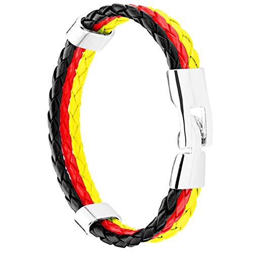 Piersando Armband Armreif geflochten Leder Fahne Motiv Fussball EM & WM Fanartikel Land Flagge Ärmel Schmuck Damen oder Herren Deutschland 21cm