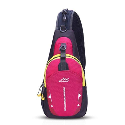FANDARE Unisex Sac de Poitrine ultra-léger Sling Bag Sacoche Bandouliere Sling Bag Garçon Fille Sac d'Epaule Sacoche de Ceinture Crossbody Bag pour Voyage Randonnée Cyclisme Jogging Durable Rose Rouge