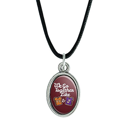 GRAPHICS & MORE Peanut Butter and Jelly Together PB&J Best Friends Antiqued Oval Charm Pendant with Black Satin Cord