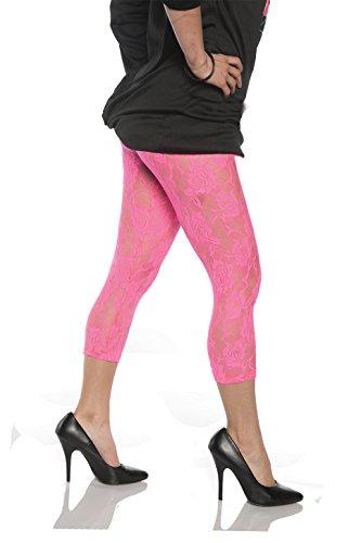 Women's Retro 80's Lace Capri Tights, Neon Pink