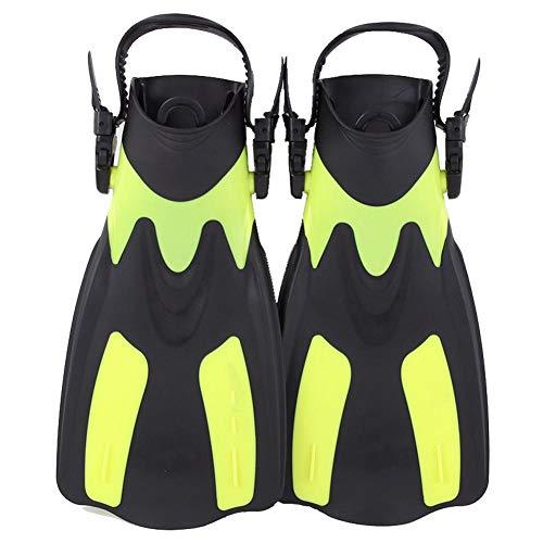 Buceo Snorkel Aletas Cortas Aletas para Nadar pie Aletas Aletas Adulto con el talón Ajustable para Practicar Deportes acuáticos Amarillo L-XL