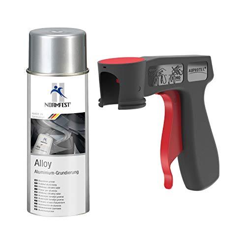 AUPROTEC Aluminium Grundierung Alloy Alu Grund Aluspray 600°C hitzebeständig Spray 1x 400ml + 1x Original Pistolengriff