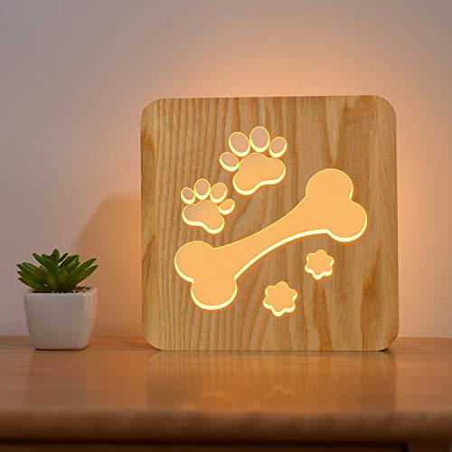 FULLOSUN Dog Paw Wood Nachtlicht, Puppy Art Decor Schriftzug Slat Box Sign, Cartoon Hollow Design für Hundeliebhaber Schlafzimmer, Kinder Kinder