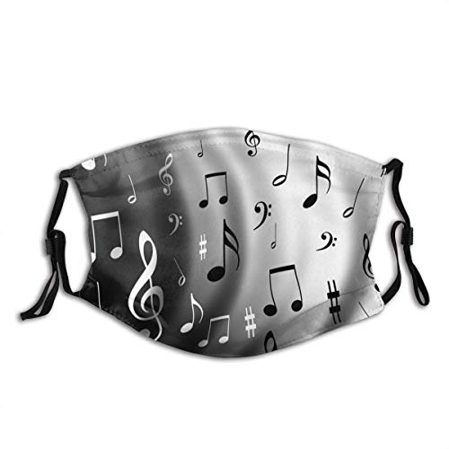 Beat of Music Notes Compose Composition Flag Guitar Instrument Musical Musician Unisex Windproof and Dustproof Mouth Covering,Face Cover with Adjustable Elastic Strap