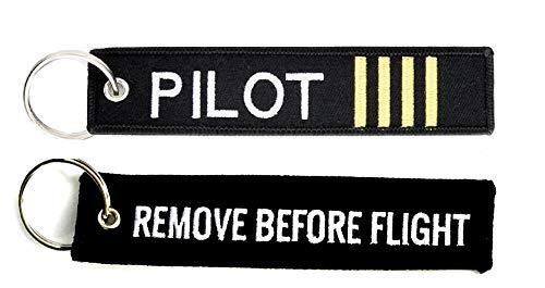 Pack porte-clés avec inscription « Remove before flight » noir + pilote commandant