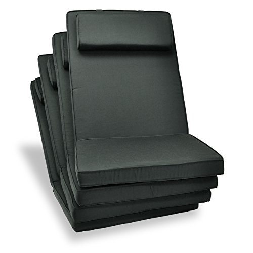 Nexos DIVERO hochwertiges 4-er Set Sitzauflagen Auflage Polster für Hochlehner Gartenstuhl Gartensessel Klappstuhl in anthrazit
