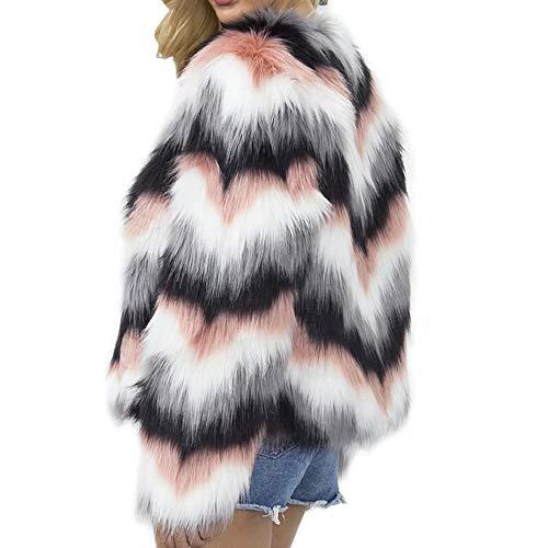 SENCILLON Damen Winter Mantel Kunstfell Jacke Mantel Langarm Kurz Flauschig Parka Overcoat Gestreift Sexy Warm Outwear Gr. 36, multi
