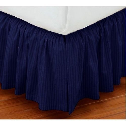 Precious Star Linen Amazon Luxuries 750TC 1 Piece Split Corner Dust Ruffle Bed Skirt Striped 15 Inch Drop Length 100% Egyptian Cotton All Size & Color (Queen 60 ''x 80'', Navy Blue)