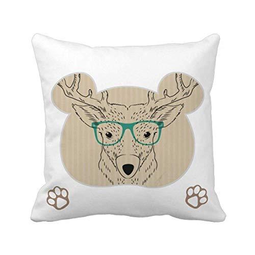 Funda cuadrada para cojín con diseño de ciervo, diseño de oso