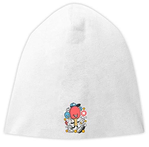 Desconocido Cartoon Style Ping Pong Paddle Jersey Beanie Hat Gorra Fina Holgada Unisex One Size