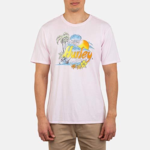 Hurley M Retro Beach S/S Camiseta, Hombre, Pink Tint, XL
